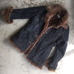 Black Denim Faux Fur Lined Jacket
